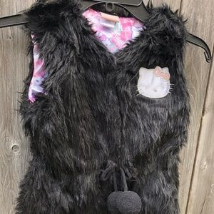 Hello Kitty Girls Furry Vest Black